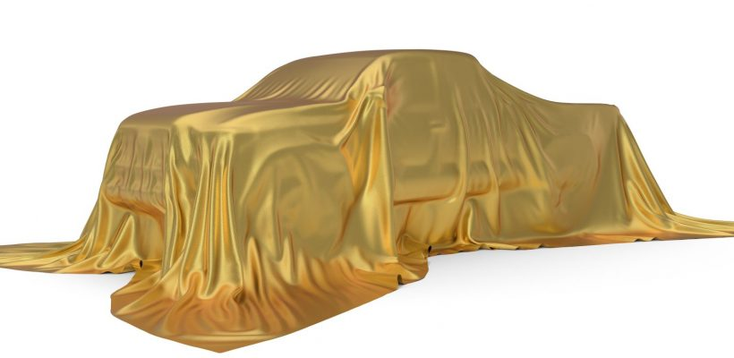 golden silk covered Pickup truck concept. 3d illustration. suitable for any smart car,auto pilot or electric car concept.